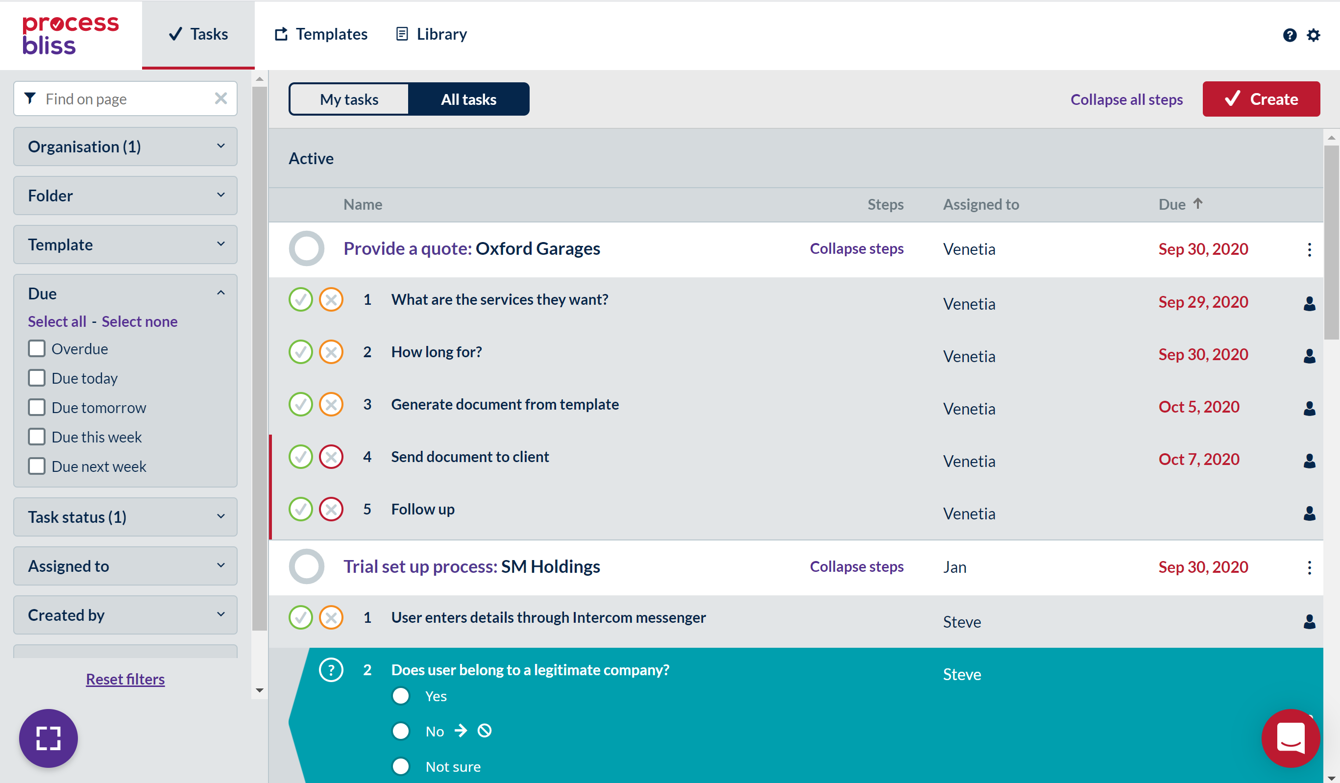 Screenshot showing expanded steps on the Process Bliss All Tasks screen