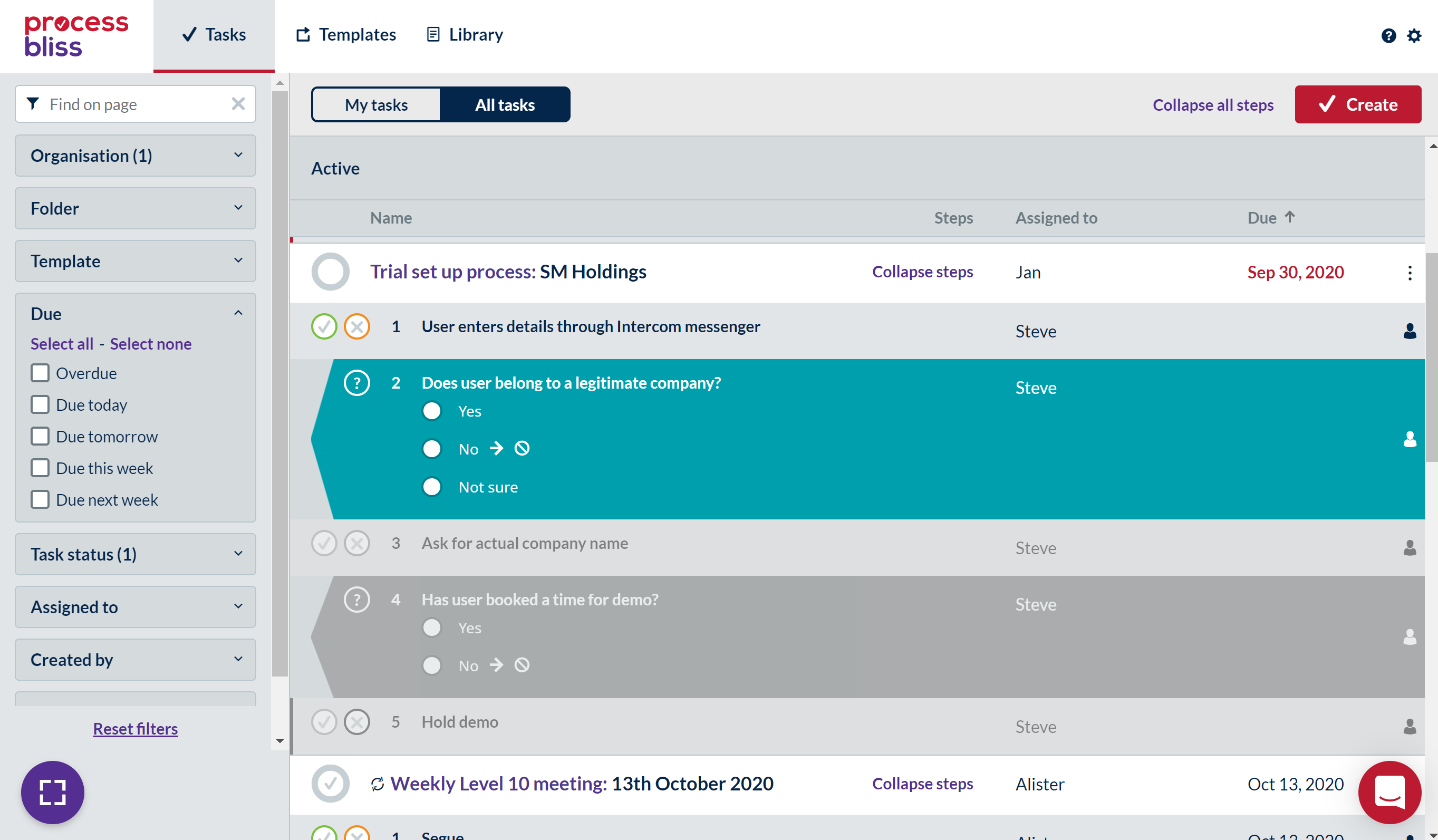 Screenshot showing expanded steps with a decision on the All Tasks screen