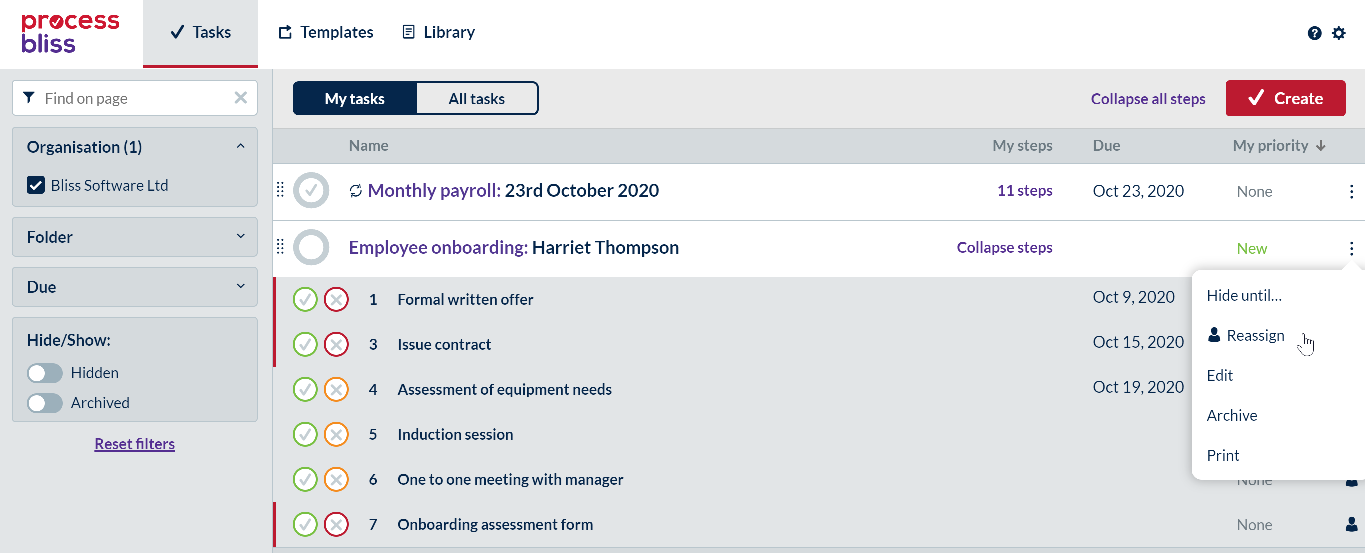 Screenshot showing the task menu option on My Tasks with the cursor hovering over reassign