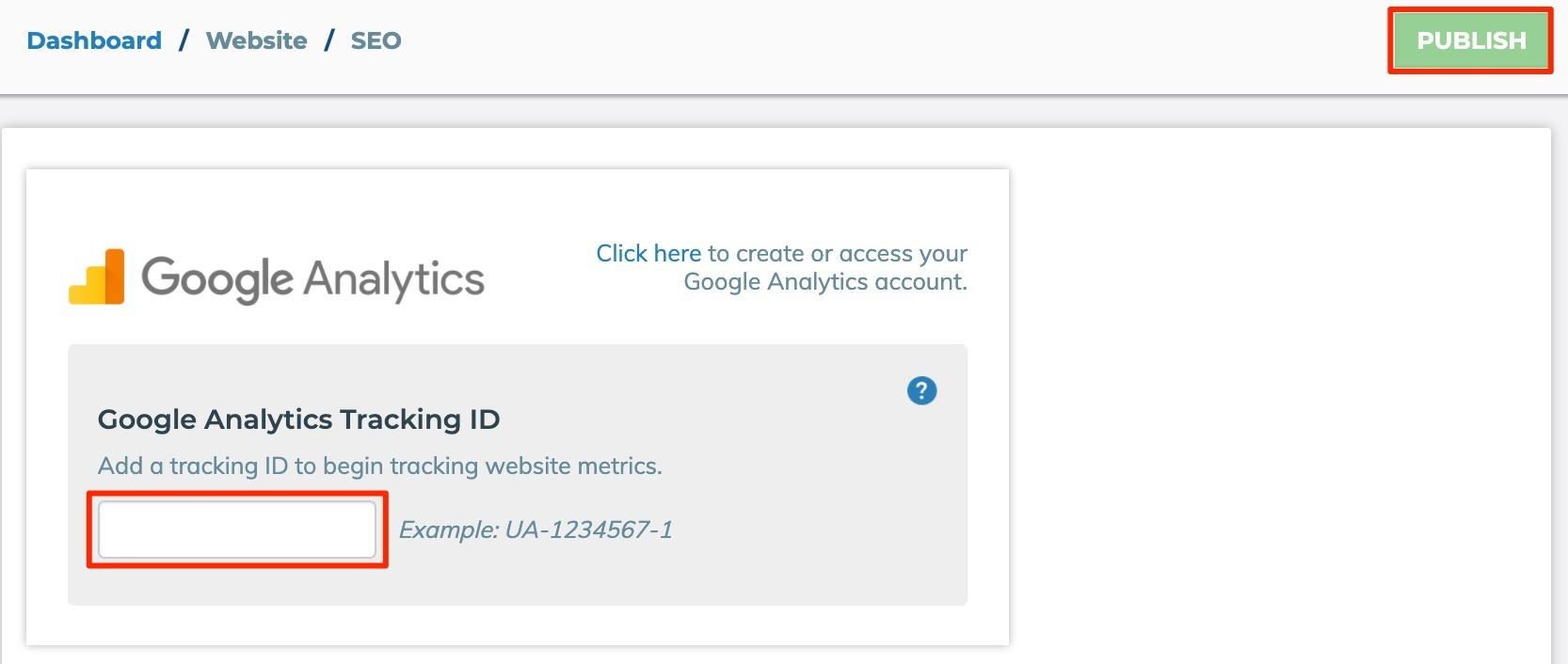 Google Analytics Enter ID