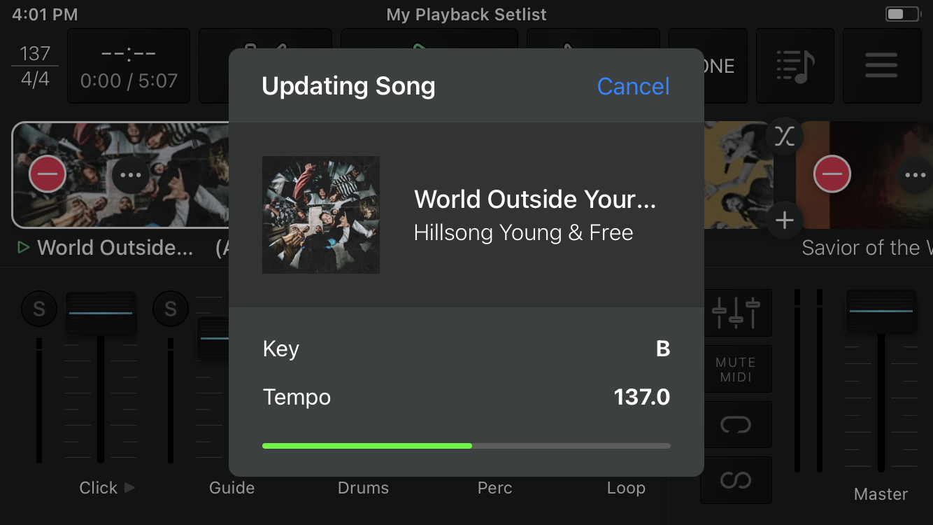 Playback will transpose the tracks using quality pitch-shifting technology.