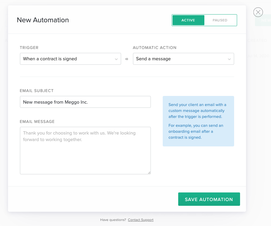 Image of automations pop up creator