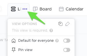 Clicking the ellipsis next to the List view name to customize its settings