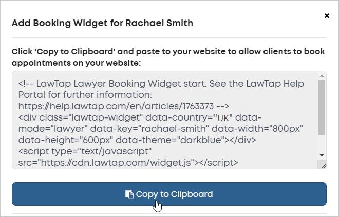 LawTap - Integrations - Booking widget code