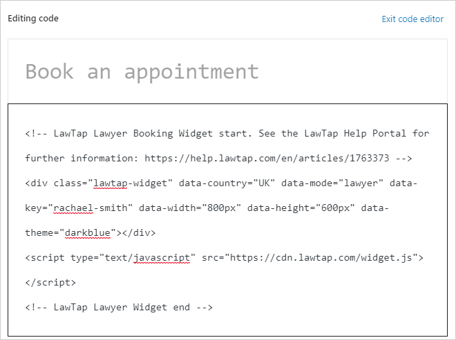 LawTap booking widget code in WorkPress code editor