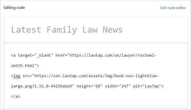 LawTap booking button code in WordPress code editor