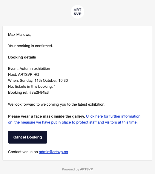 Example of email with custom text