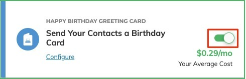 Happy Birthday Greeting Card Toggle On