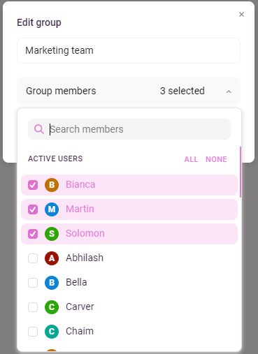 adding members to group