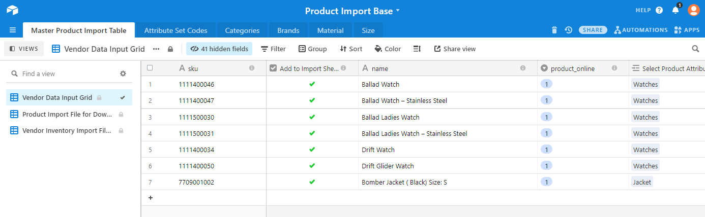 Airtable view of Omnyfy Product import sheet