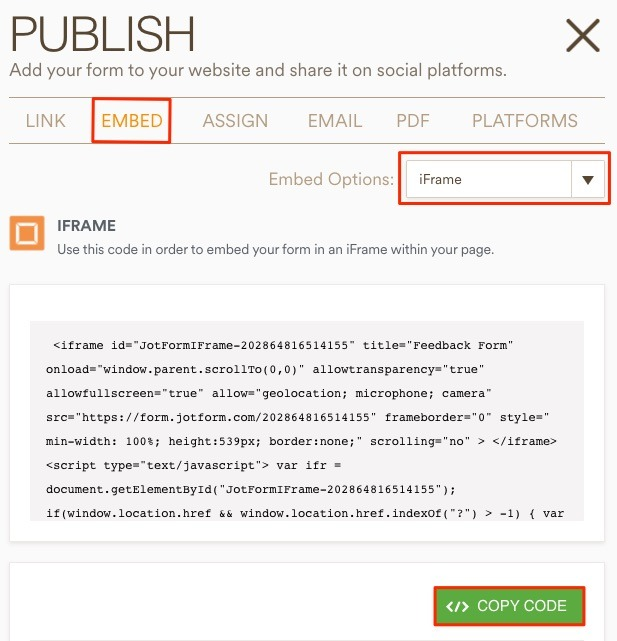 Publish Iframe Code