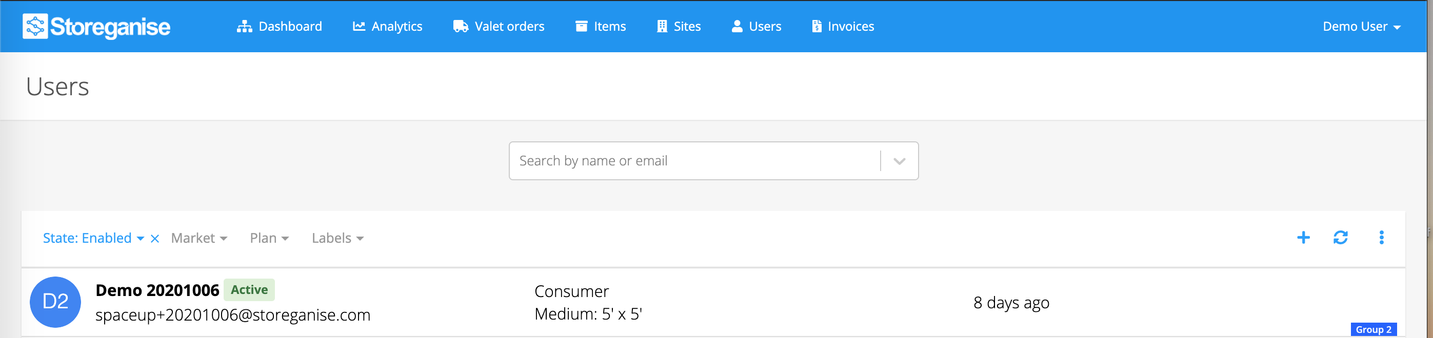 search bar for searching for specific users