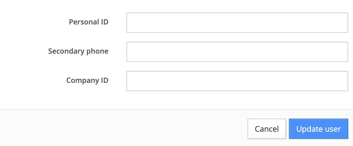 User: edit personal ID, secondary phone, company ID