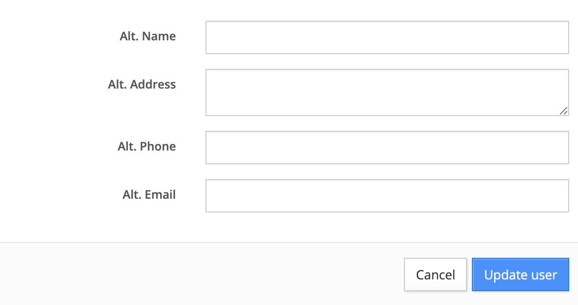 edit user's alternate contact information