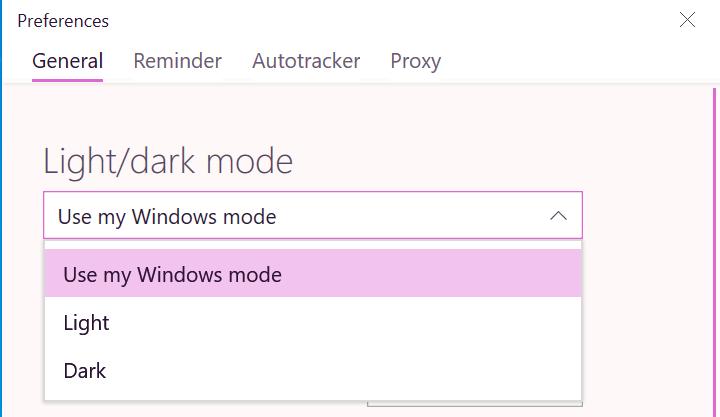 Windows Track desktop app light or dark mode