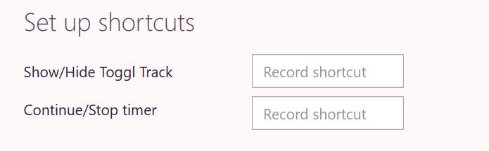 Windows Toggl Track desktop global shortcuts