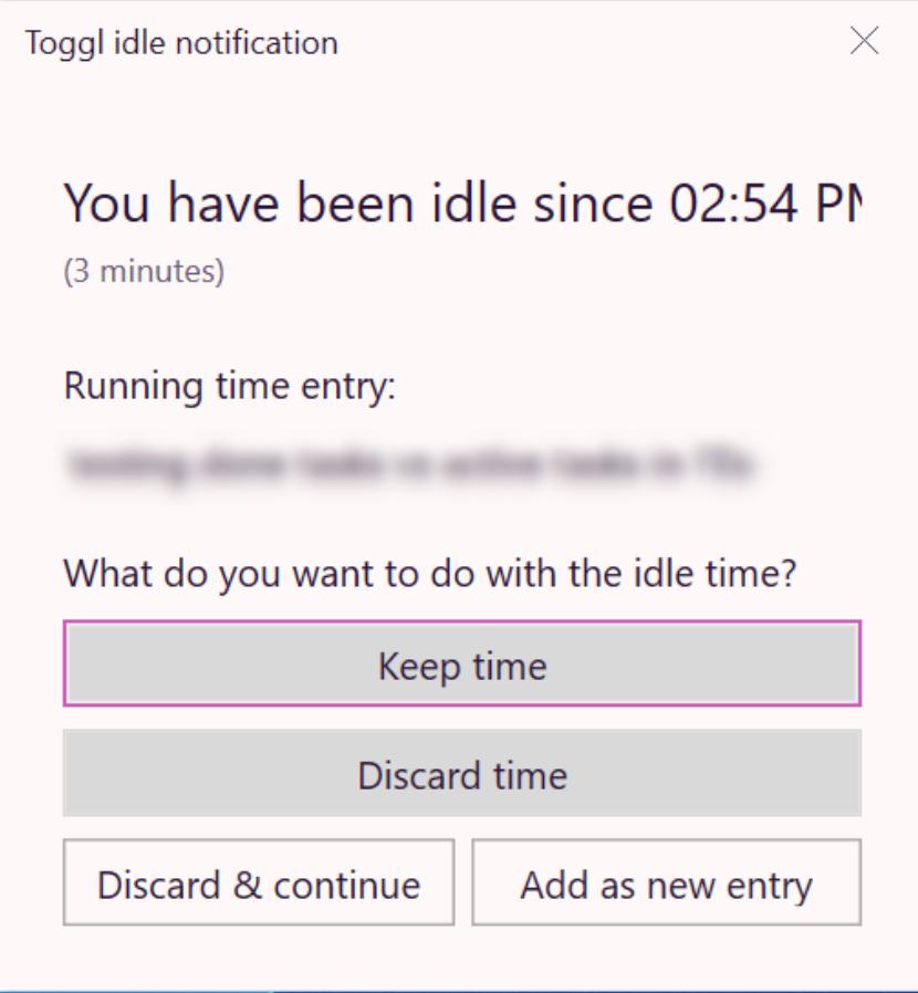 Windows Toggl Track desktop app idle time notification