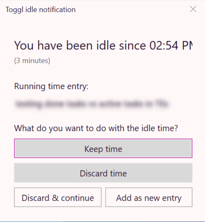 Windows Toggl Track desktop app idle time notification