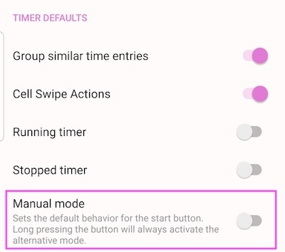 Manual mode - Settings panel