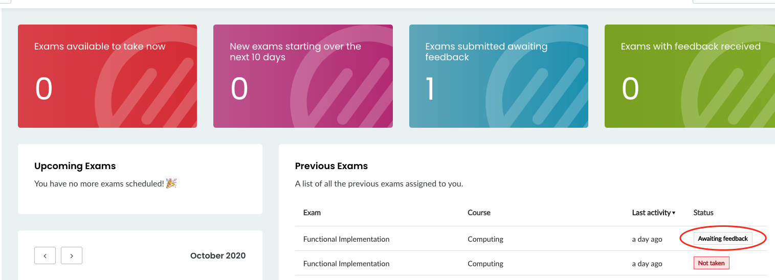 Student Dashboard in BetterExaminations Online