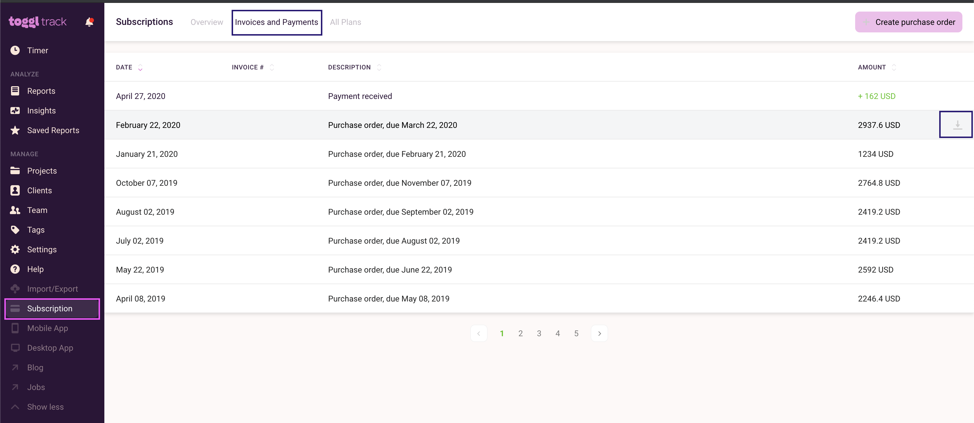 downloading invoices on subscription page - invoices and payments tab