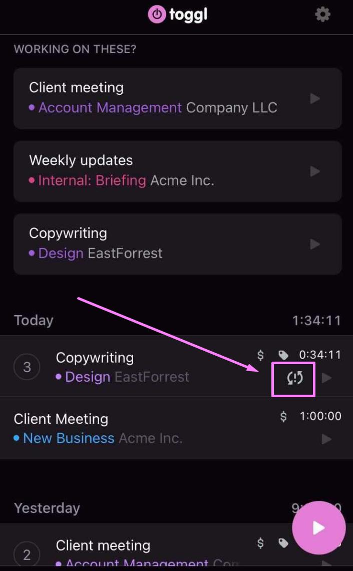 ios toggl track app offline syncing error