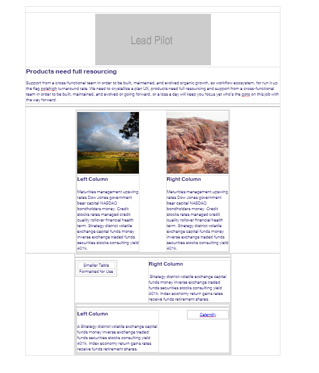 Screenshot of modular template in Lead Pilot: Hero image with two images in separate columns