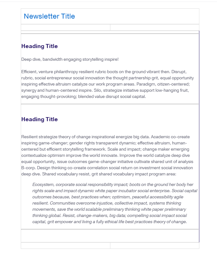 Simple Newsletter template show in Lead Pilot editor