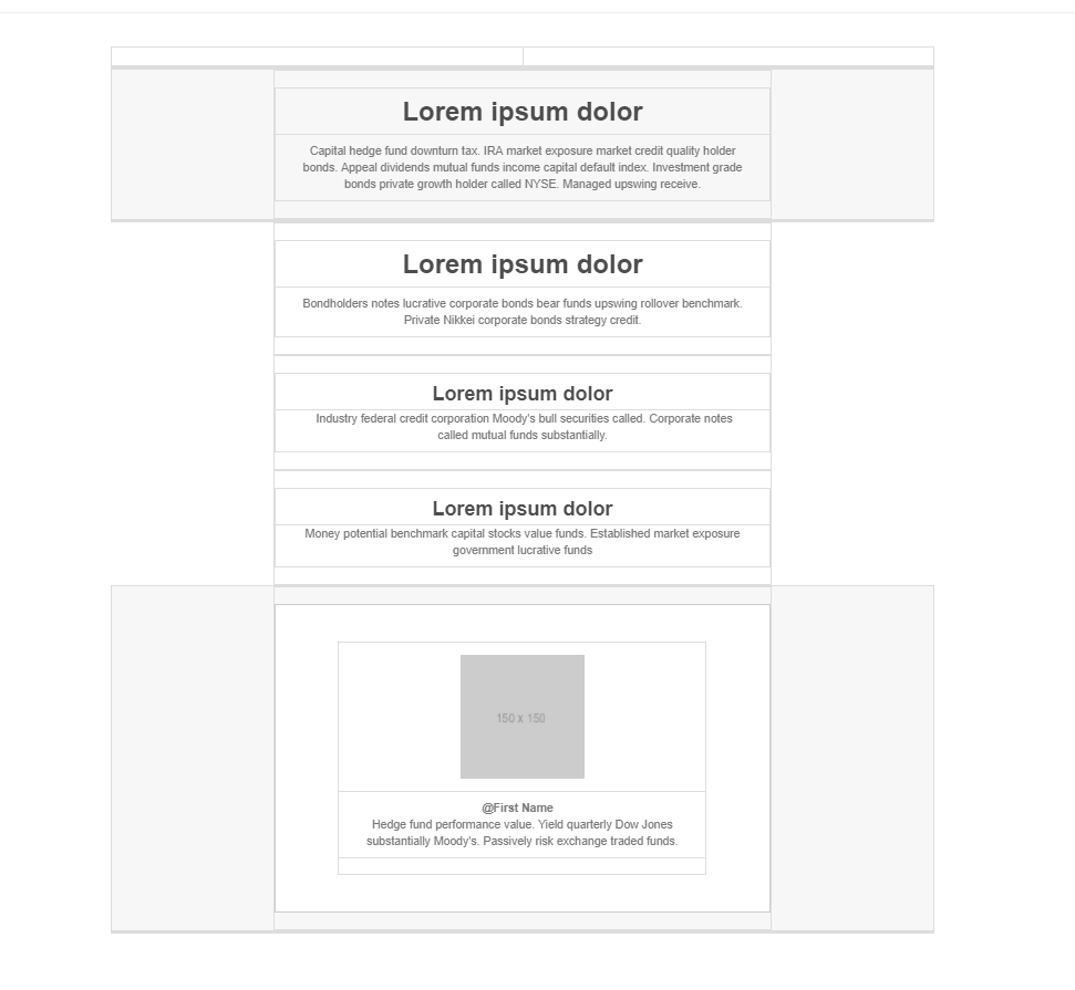 Text centered in a single column email template with one image at the end