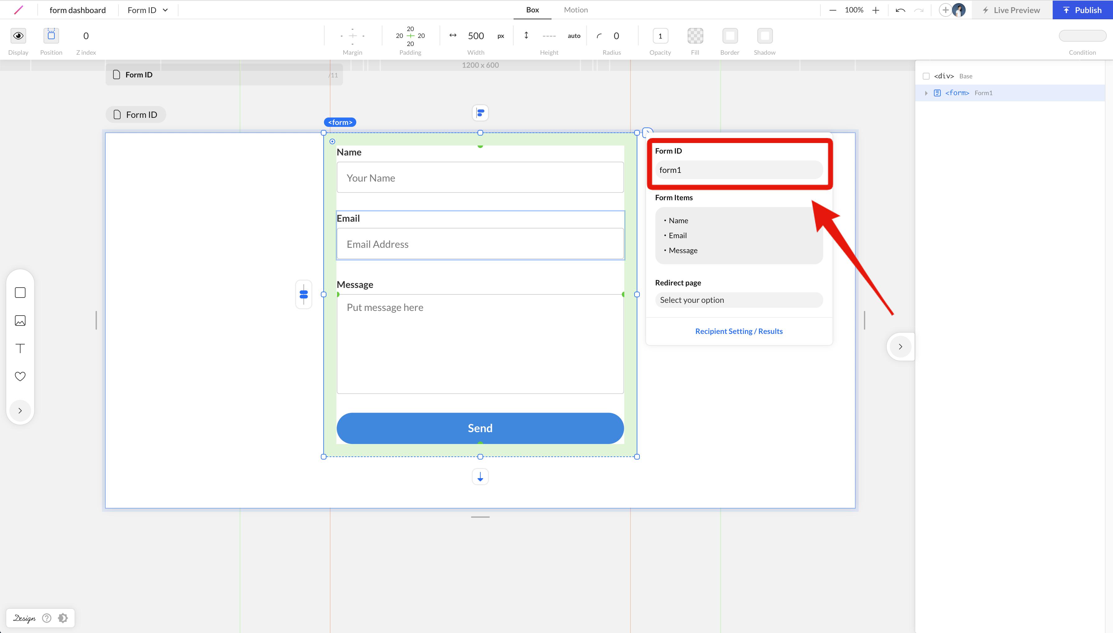 デザインエディタで設定するフォームID