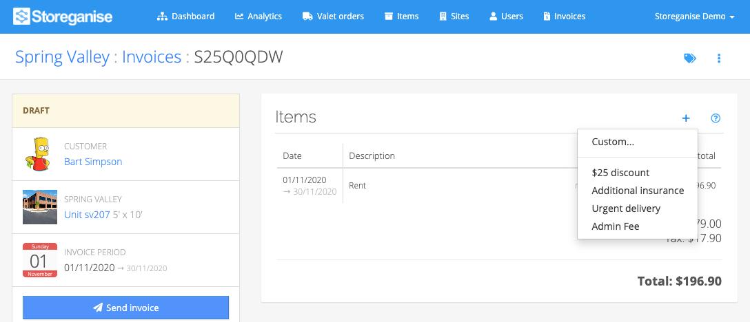 Adding invoice items