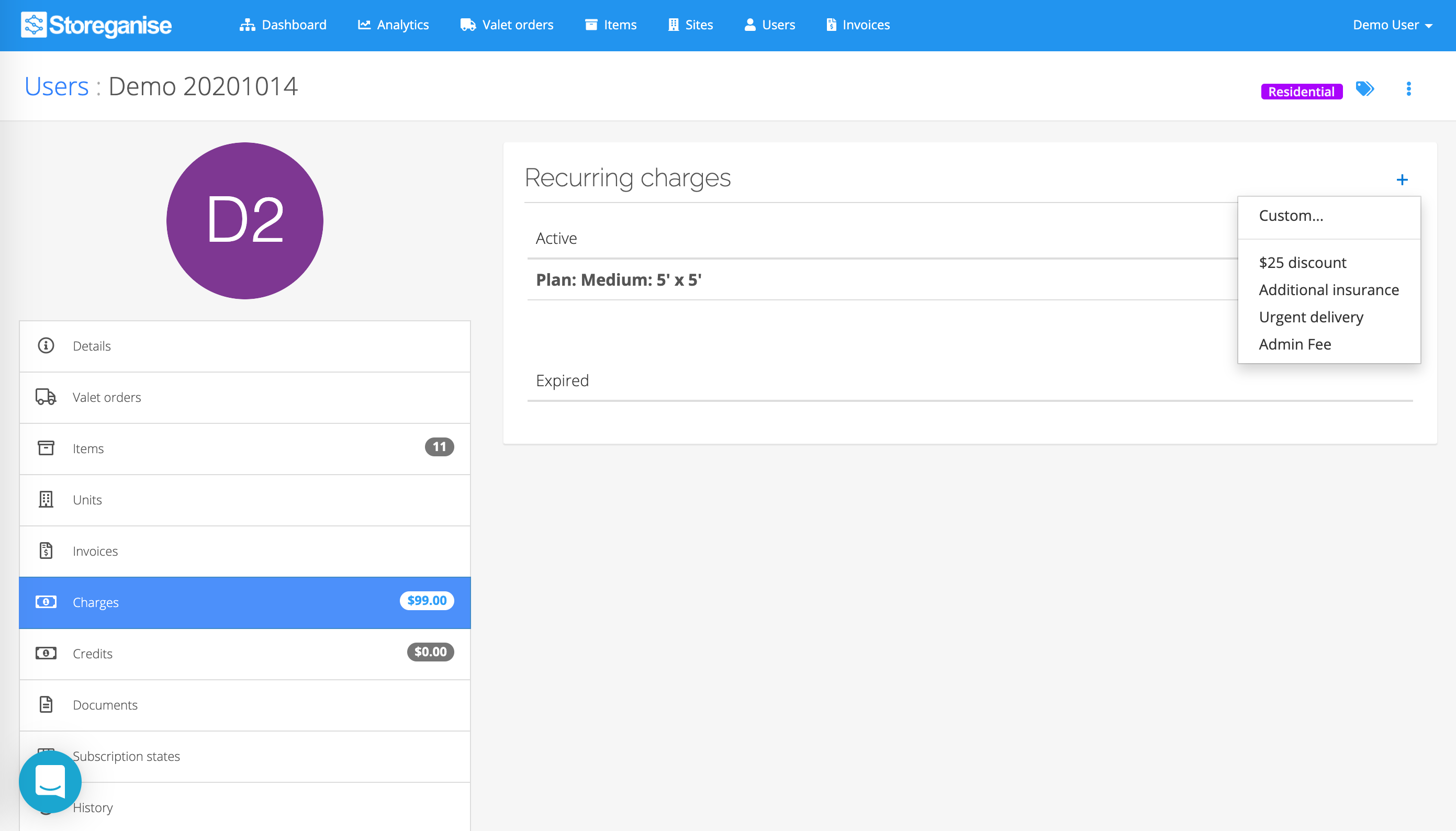 add recurring charges to a user's account