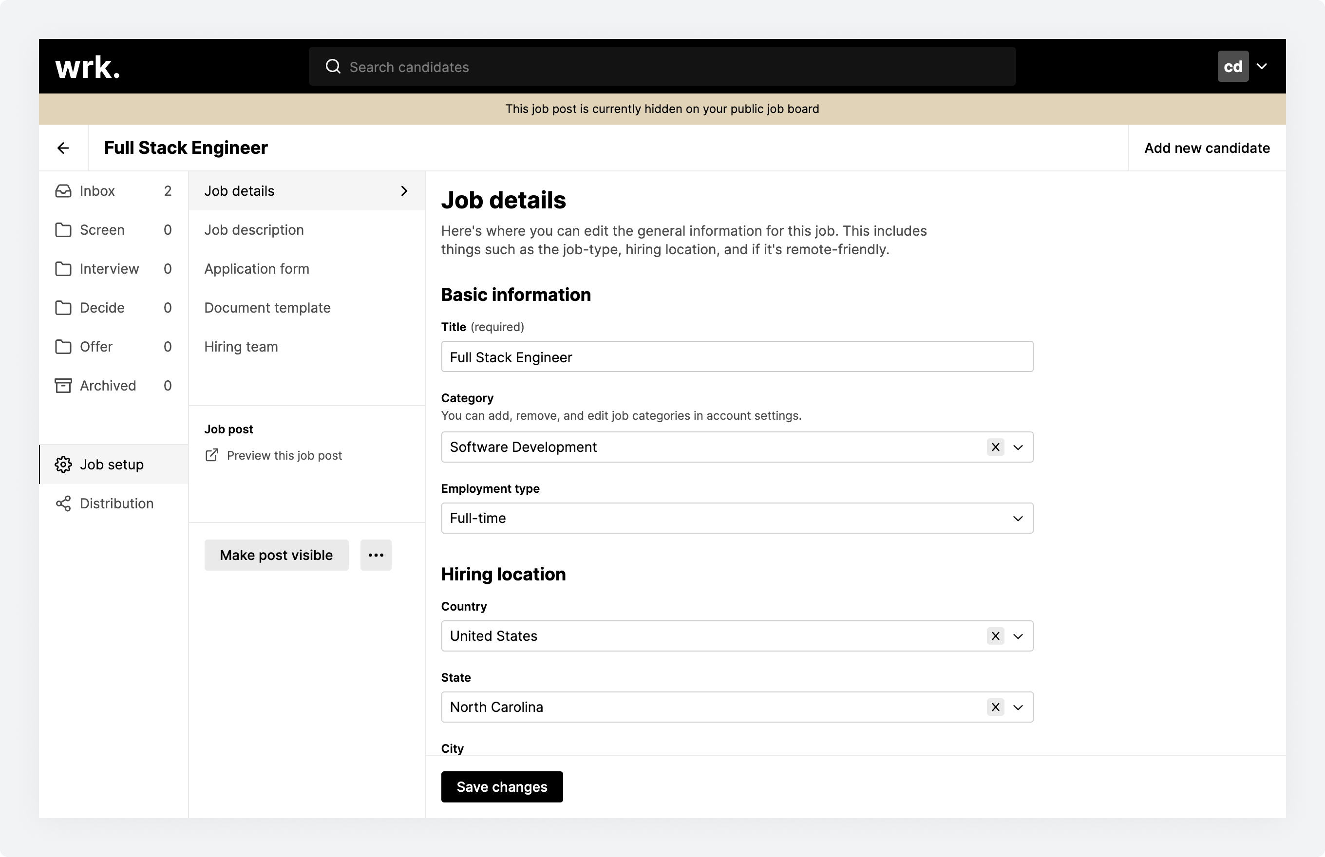 The Job setup screen for a currently hidden job post in Wrk