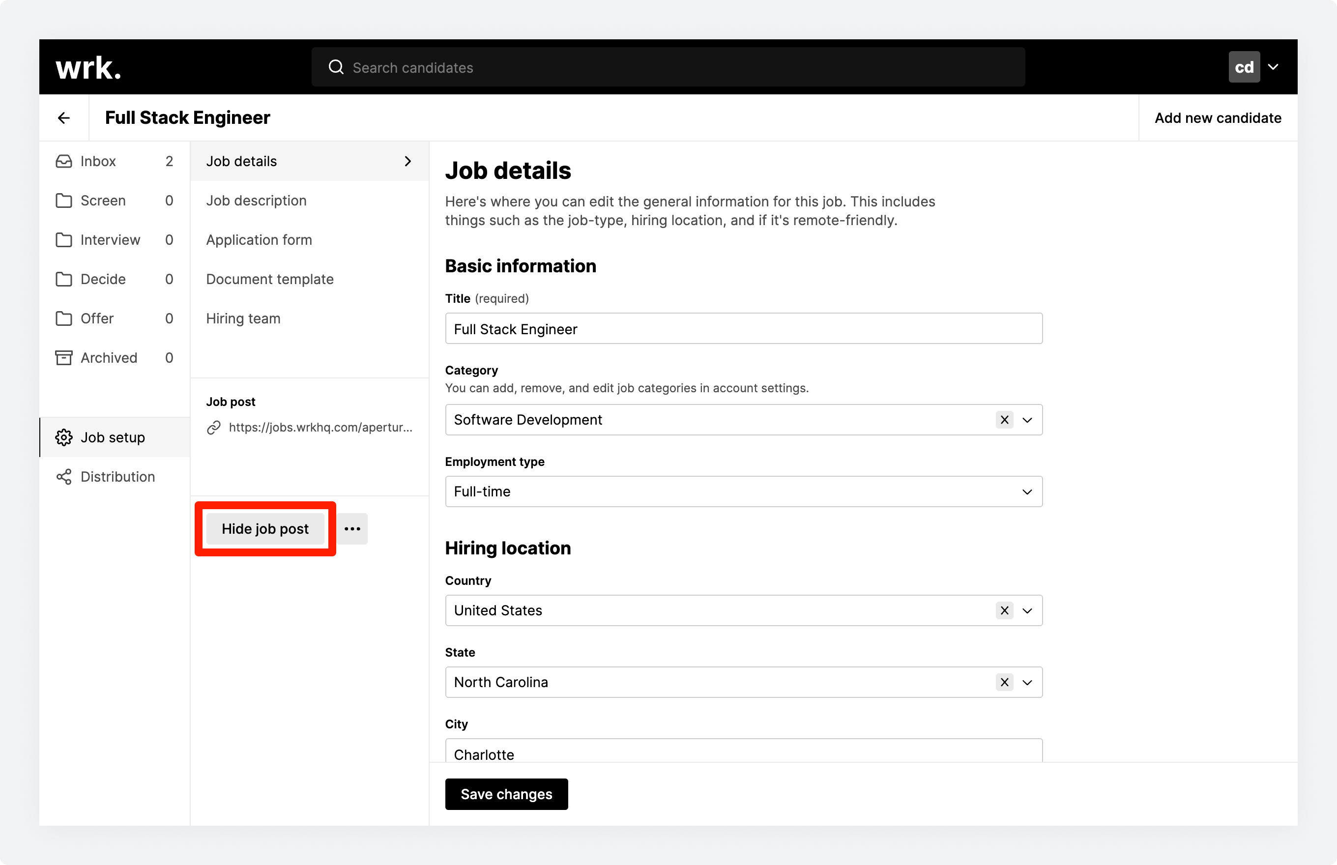 The 'Hide job post' button from within the Job setup screen in Wrk
