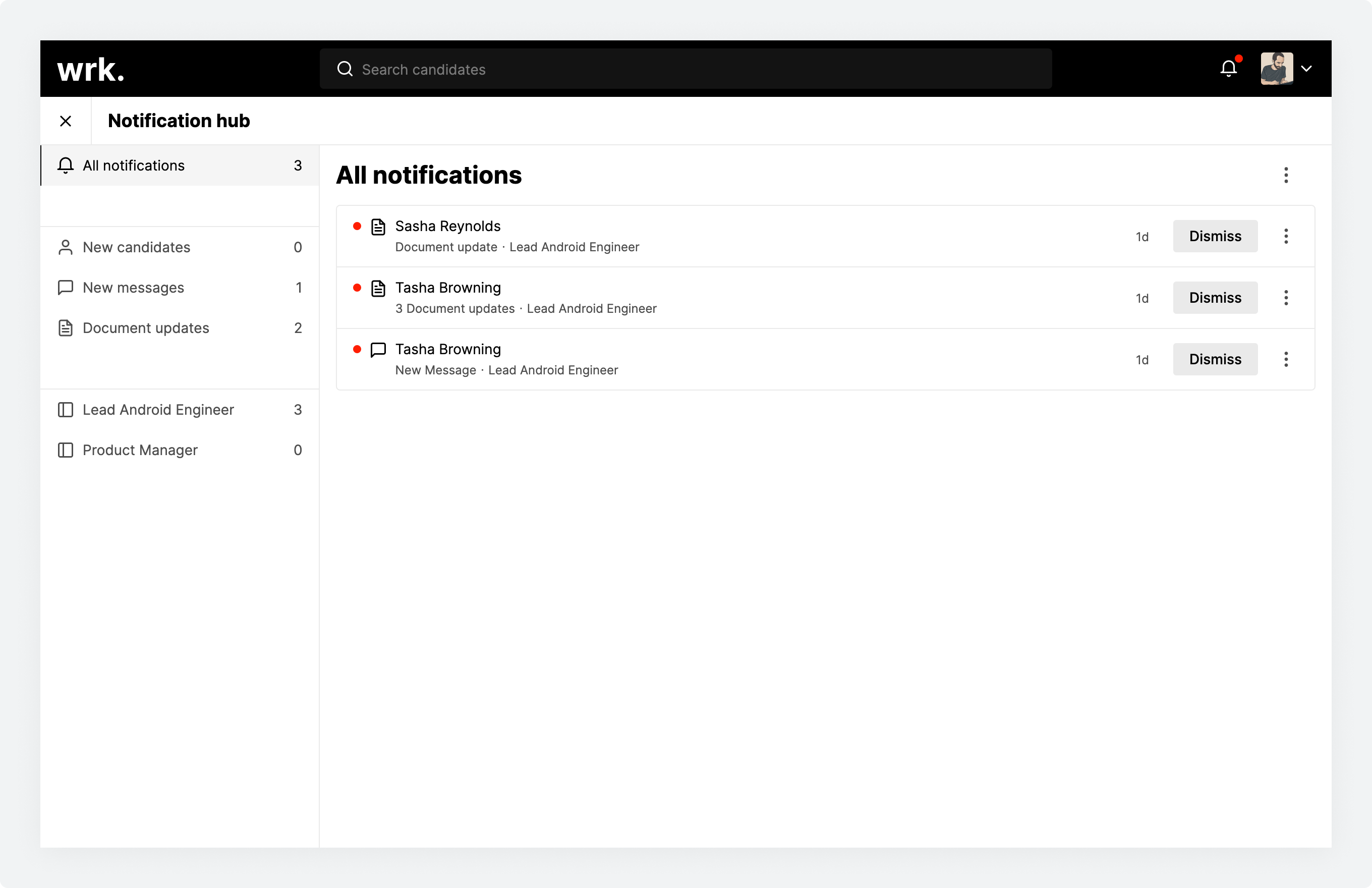 The notification hub in Wrk