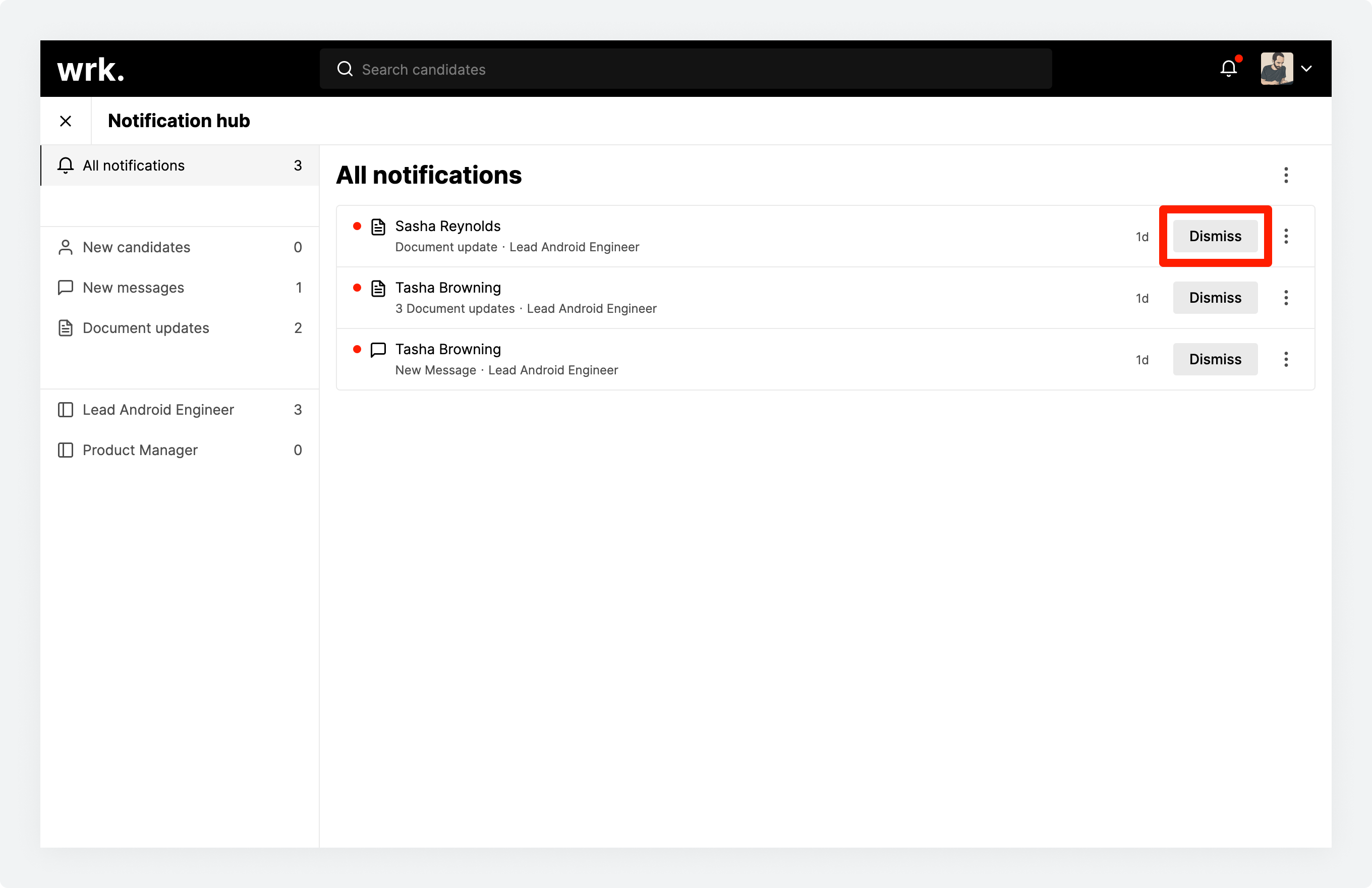The notification hub in Wrk with a notification's dismiss button highlighted