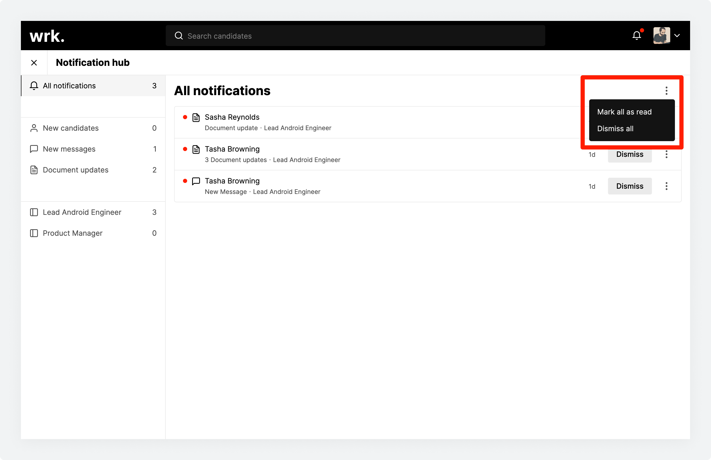 The notification hub in Wrk with the bulk actions highlighted
