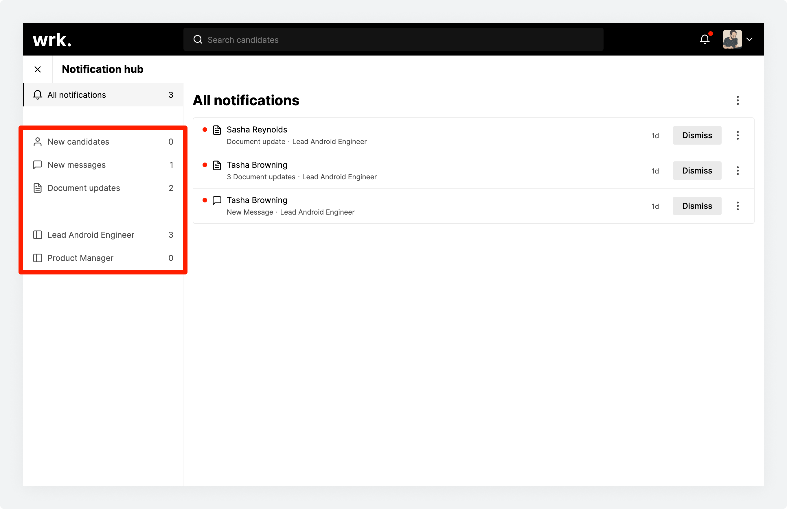 The notification hub in Wrk with the list filters highlighted