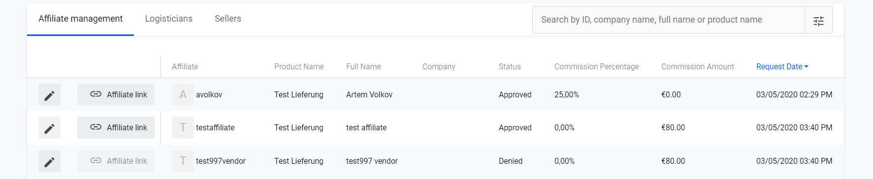 List of affiliates: Vendor view