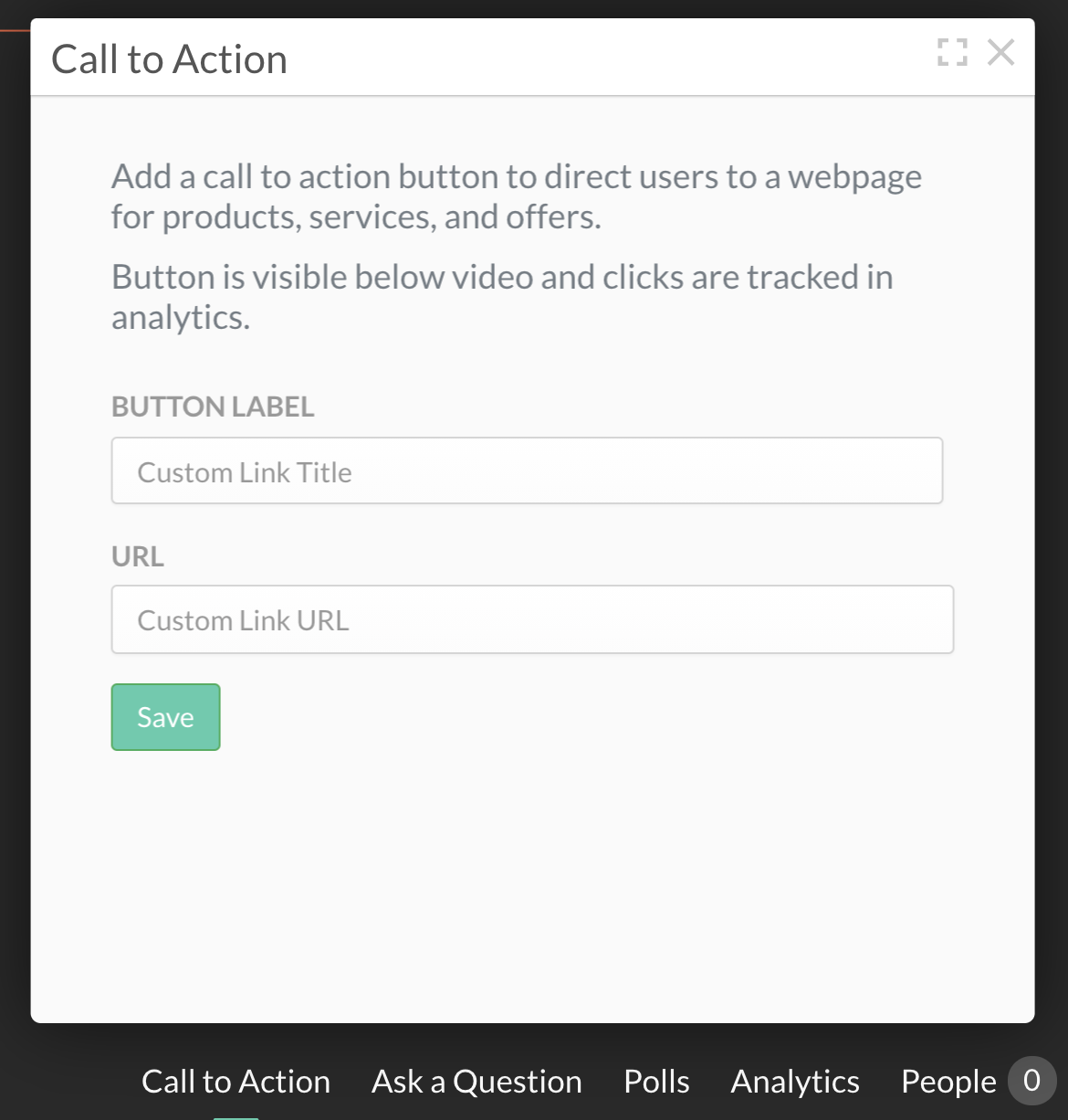 Call to action pop-up