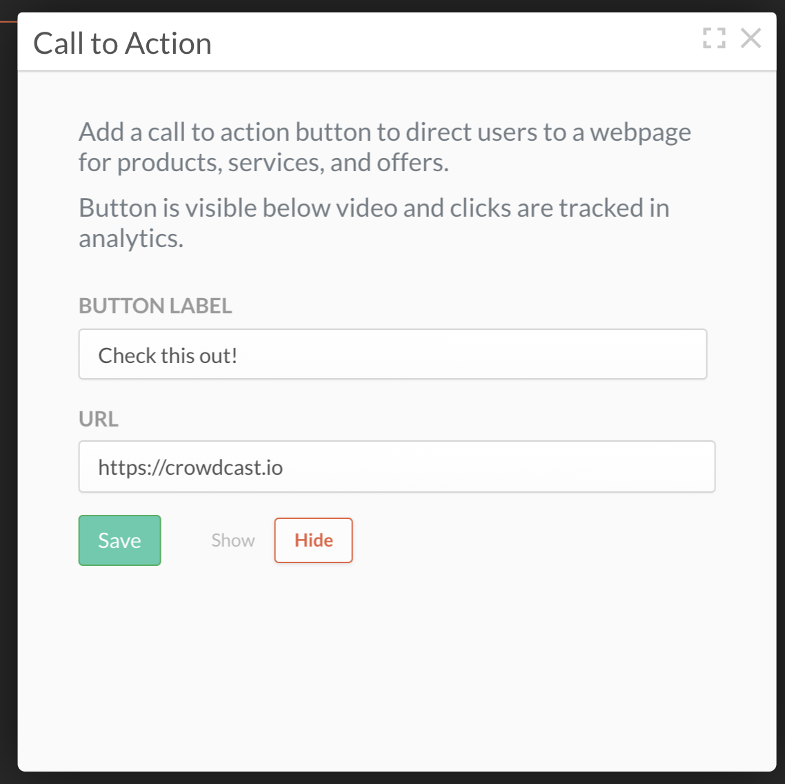 Call to action pop-up with button label and URL entered