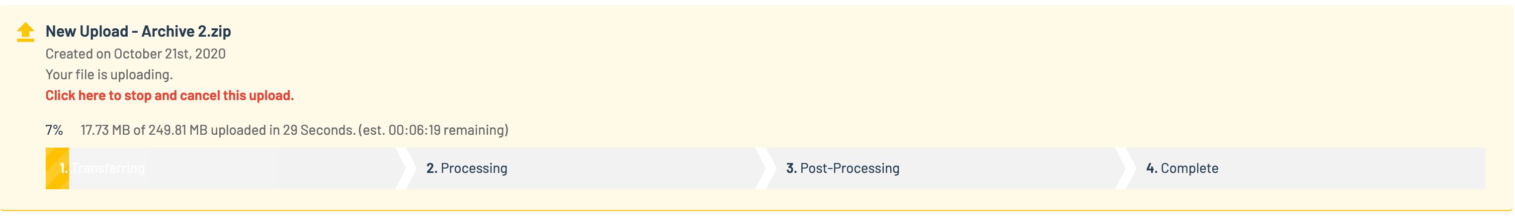 Progress bar: upload transferring