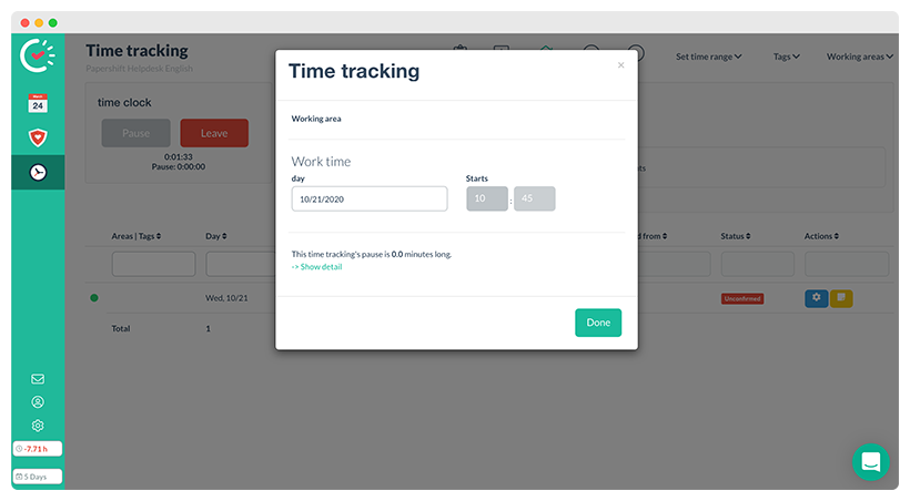 Adjust ongoing time tracking
