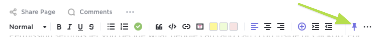 Arrow showing the pin option on the rich text editing toolbar