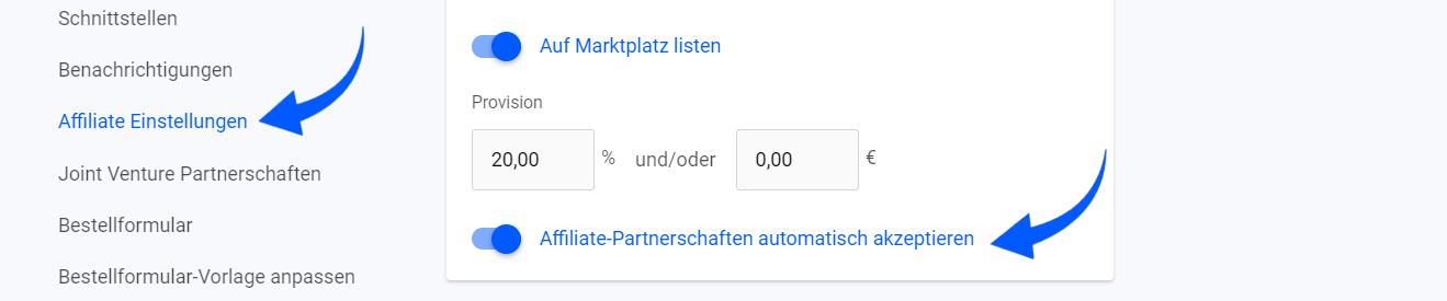 Affiliate-Partnerschaften automatisch akzeptieren
