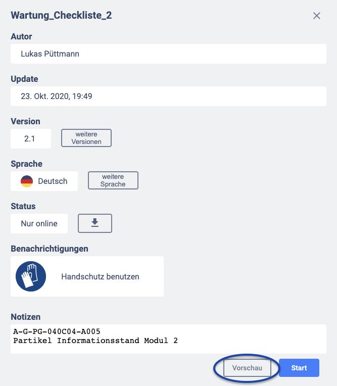 Vorschau Button im Assistant für Dokumente