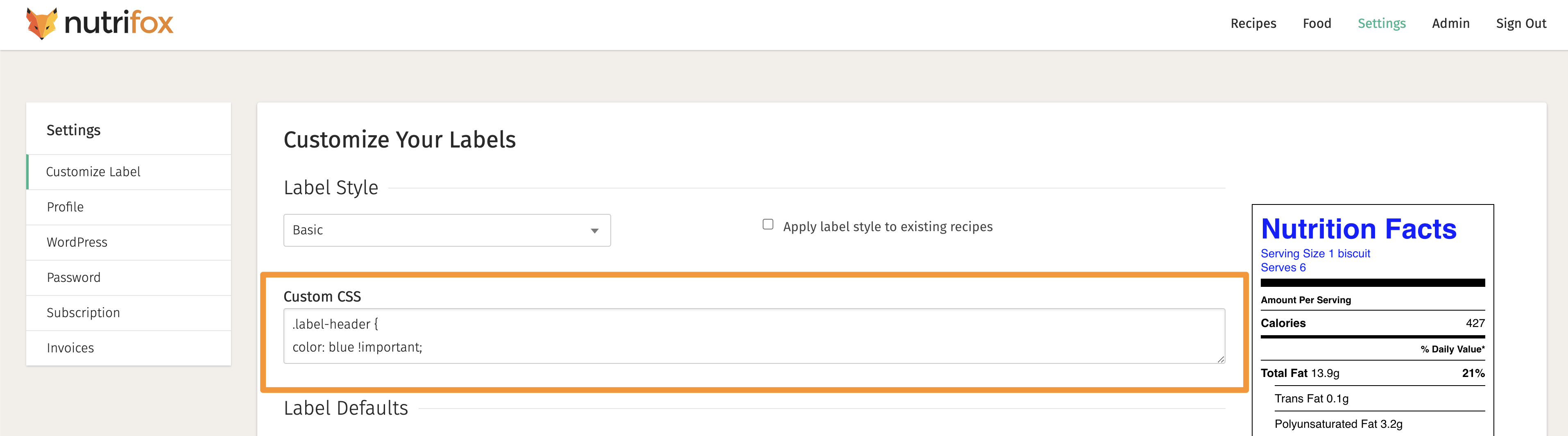A screenshot of the Nutrifox settings page with an orange square around the Custom CSS area