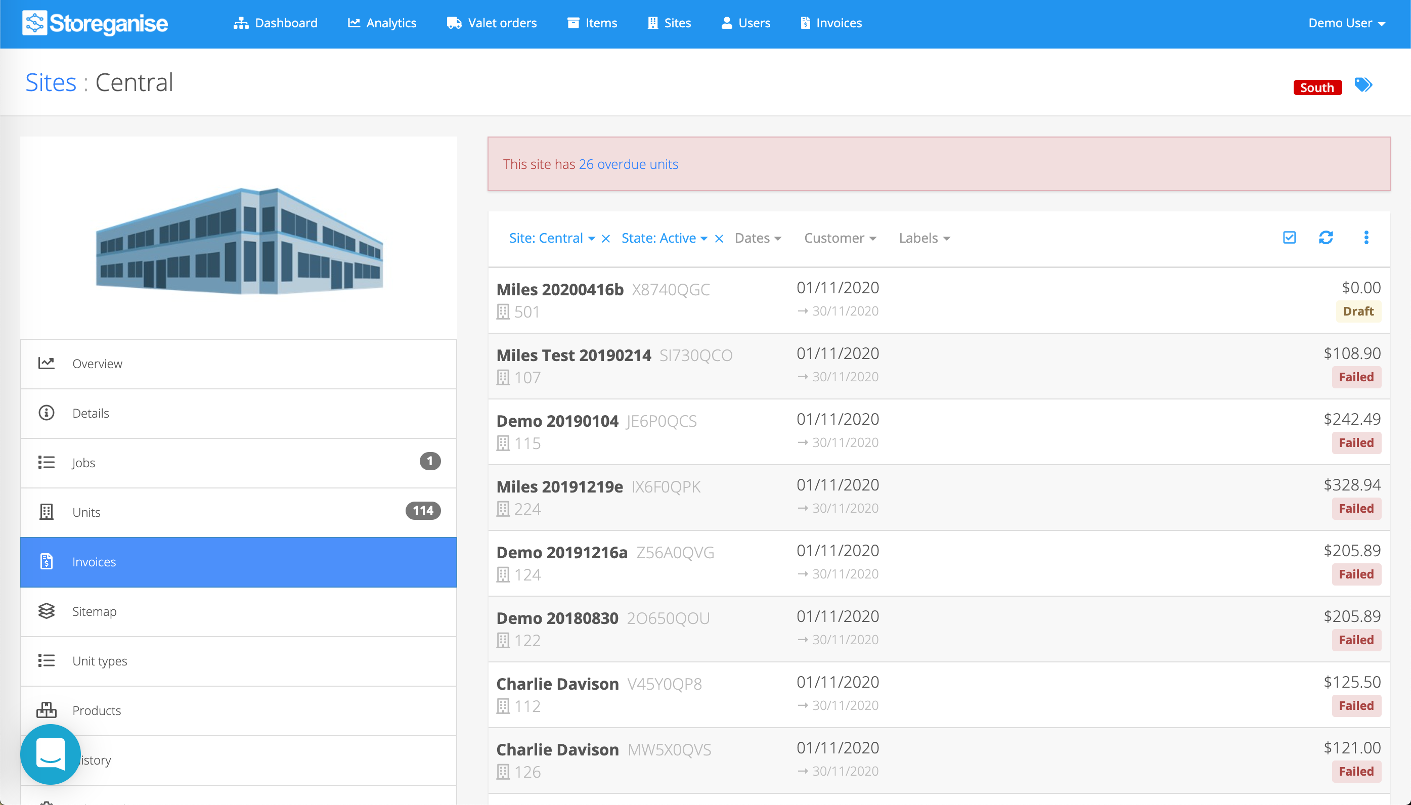 site invoices overview