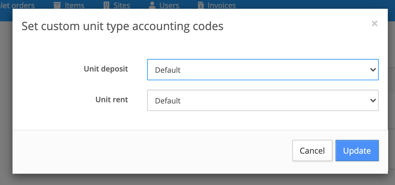 set custom unit type accounting codes