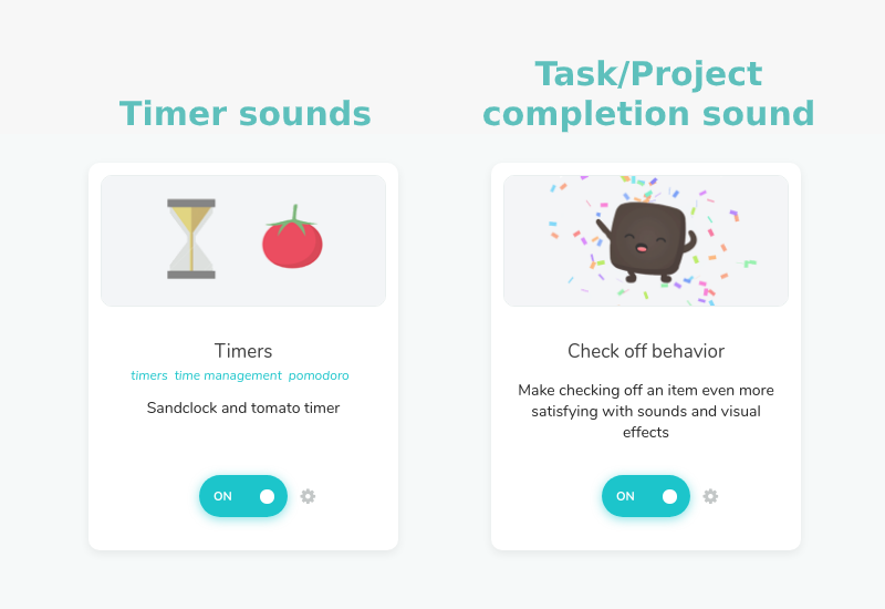Timer sounds and Task/Project completion sound